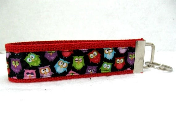 Owl Key Fob RED - Owls Keychain Wristlet - Owl Large Key Chain