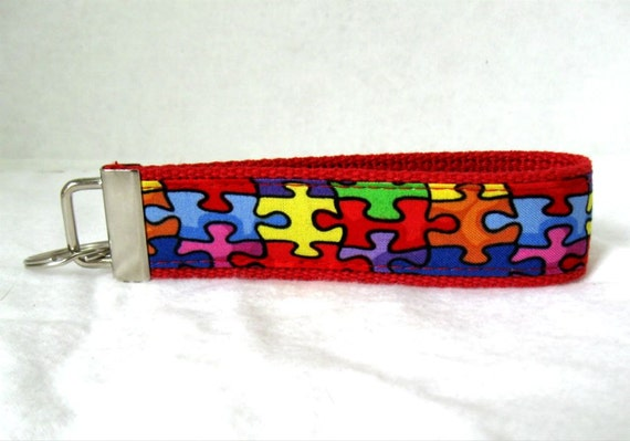 Autism Key Fob RED Puzzle Pieces Fabric Key Chain