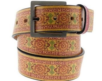 India Print Ochre Leather Belt, Womens Belt, Mens Belt, Handmade Leather Belt, Leather Belt, India Clothing, India Art, Boho Belt