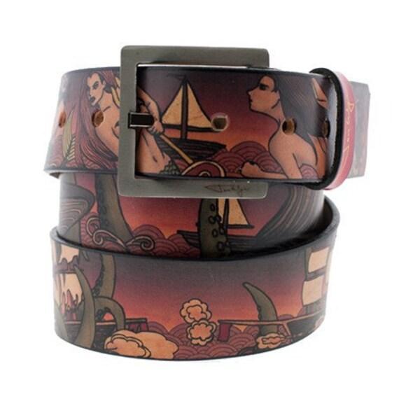 Sea Monsters Leather Belt, Handmade Leather Belt, Monster Belt, Belt Monster, Sea Monster
