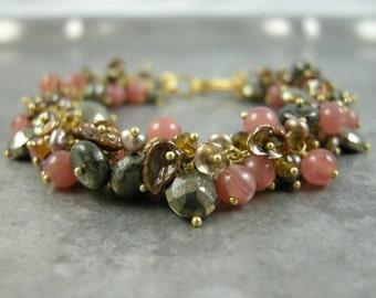 SALE - Keishi Pearl and Gemstone cluster Bracelet - Lyonella