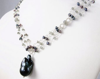 SALE - Keishi Pearl and Labradorite wire wrapped Necklace - Anabelle