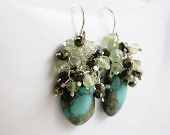 SALE - Turquoise , Pyrite and Prehnite Gemstone Cluster Earrings - Margarita