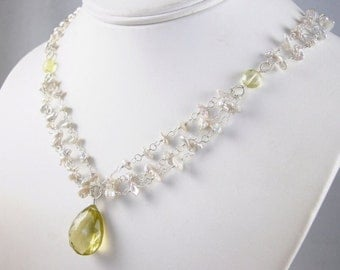 SALE - Keishi Pearl and Lemon Quartz wire wrapped Necklace - Emma