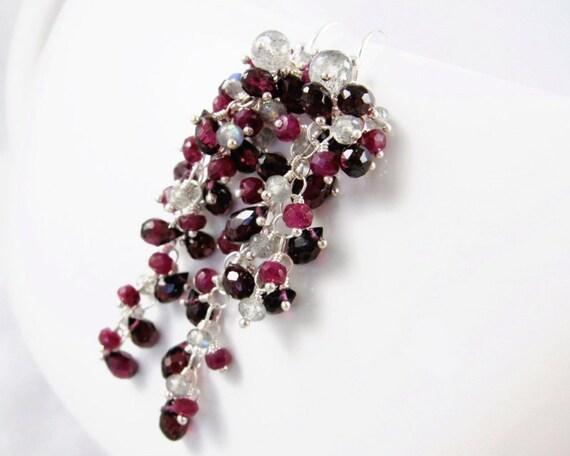 SALE - Ruby, Garnet and Labradorite gemstone tassel Earrings - Orleans