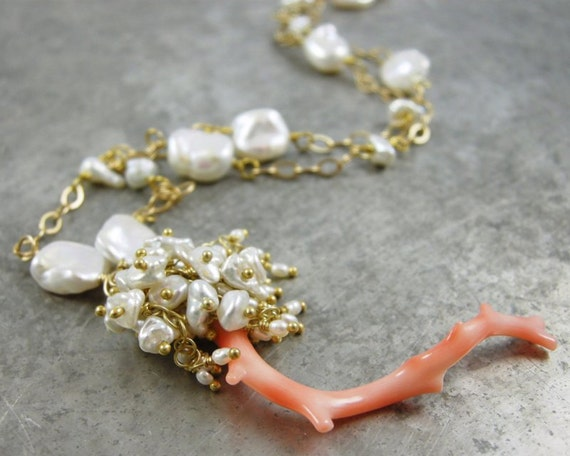 SALE - Coral branch, Keishi Pearl and Freshwater Seed Pearl Necklace - Carolina