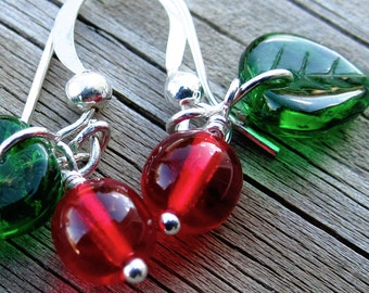 little cherries beaded cherry earrings