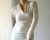 v neck sweater in hand felted fine merino wool knit with long sleeves - made to order