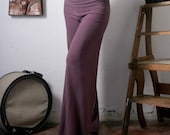 womens lounge pants in french terry with fold over waist - made to order