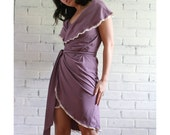 Organic cotton jersey wrap dress with fold over shawl collar - sample sale - ready to ship - size small