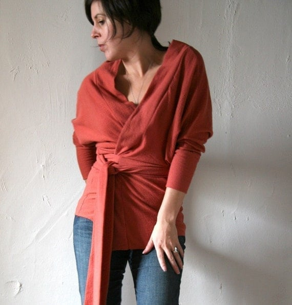 felted fine merino wool knit dolman sleeve wrap top or jacket - made to measure