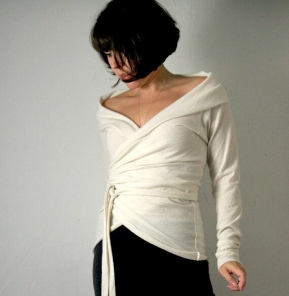 Sandmaiden fine felted merino wool jersey wrap sweater - made to measure