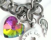 SALE Charm Bracelet Gemstone Swarovski Crystal Heart Angel Wing Expression Charm Jewelry