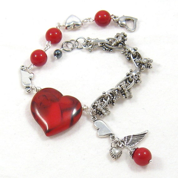 Angel and Hearts Charm Bracelet Silver Red Valentines Day Fashion Jewelry