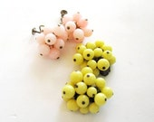Vintage Baubles - Pink and Yellow Cluster Clip Earrings
