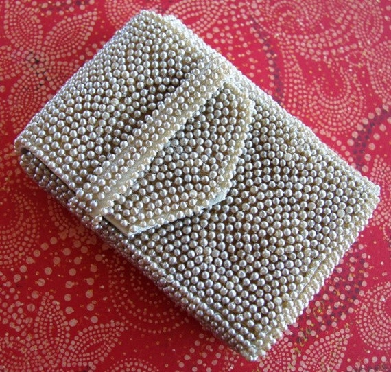 Faux Pearl Beaded Cigarette Case - Ivory/Champagne - Great Cell Phone ...