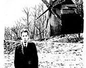 HP Lovecraft and Windmill illustration print 5x7