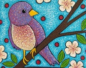 Warble---- Art Print of Original Acrylic Bird Painting- purple bird on a branch