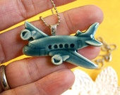 Up Up and Away- Porcelain Airplane Necklace in ocean blue