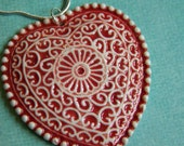 Filigree Heart Necklace- Large Porcelain Pendant in Red and White