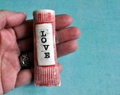 """Magnetic Pottery Bud Vase and Pen Holder - red and white and """"i love you"""""""