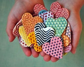 Ceramic Heart Components/ Tiles/ DIY Supply --- Melon and Red with polka dots and stripes