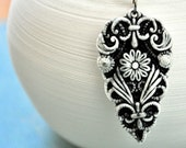Elegant Victorian Design- Porcelain Necklace- filigree design in black and white