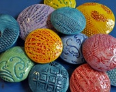 Polka Dot Pottery Pillow Pods - 12 colorful, sculptural pieces for your wall or other display- coffee table, bookshelf etc...