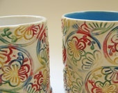 textural floral mug with white interior