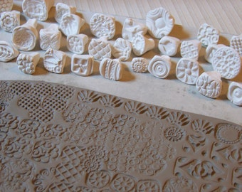 Stamps for clay/ pottery, polymer, PMC, play doh, fondant and more....handmade and some hand-carved pattern stamps