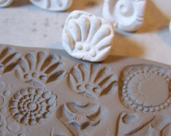 Handmade Clay Stamps- Textural Stamp- Pattern Tool-  for pottery, polymer, PMC, play doh, fondant and more....