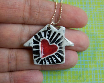 Home is Where the Heart is- Porcelain Necklace in black and white with red heart