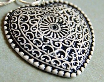 Filigree Heart Necklace- porcelain pendant in black and white