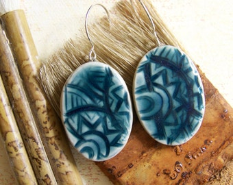 Peacock Blue Oval Earrings