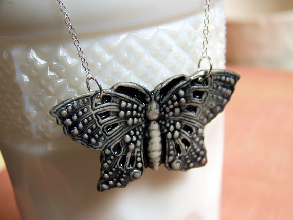 Victorian Butterfly- black and white porcelain necklace