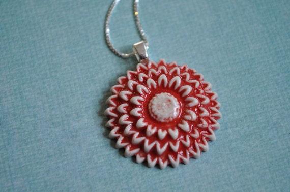 Red Dahlia- porcelain pendant necklace