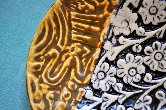 Global Impressions- hand-built stoneware tidbit plate with patterns from around the world in black and white and toasted caramel brown