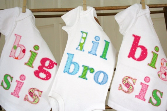 Custom Appliqued Little Sister or  Little Brother Shirts by Olive and Ollie