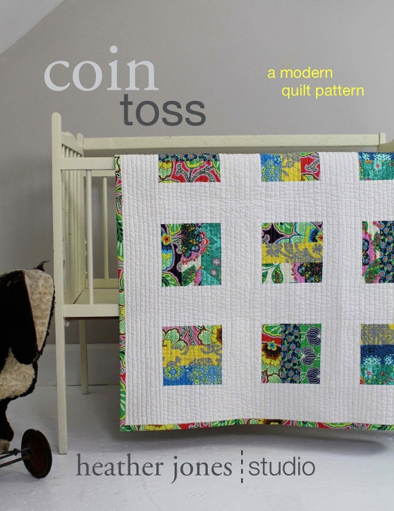 Coin Toss, a modern quilt PDF pattern in four sizes, by Heather Jones