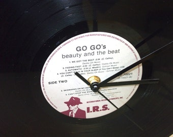 SALE Upcycled Record Wall Clock, Go Gos Beauty and the Beat Record Desk Clock,  Retro Home Decor, Office Accessories