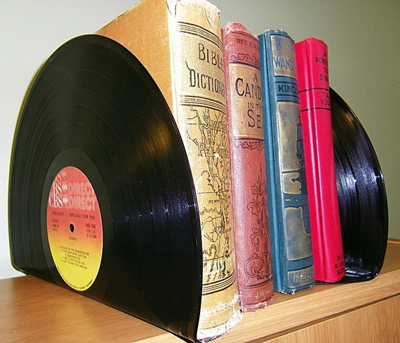 Record made into Bookends - Record Book Ends for Office or Home - Upcycled Home Decor