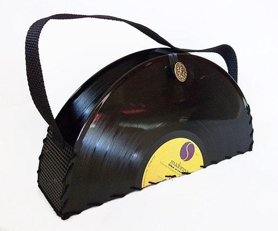 Record Purse Madonna Record Handbag Vintage Vinyl Handbag Black