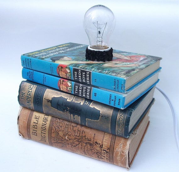 Book Desk Lamp - Hardy Boys Book Table Lamp - Retro Home Decor - Office Lighting