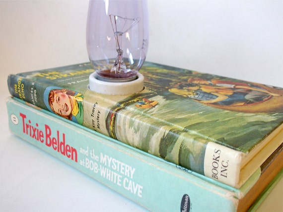 Vintage Desk Lamp made from Trixie Belden and Kay Tracey Mystery books - Retro Office Lamp
