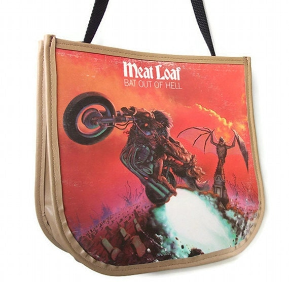 Meat Loaf Record Purse, Bat out of Hell Album Handbag, Messenger bag, Fashion Accessories, Music Lover