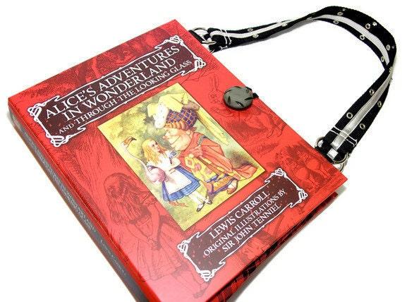 Alice in Wonderland Book Purse IPad Sleeve Book Handbag Upcycled Bag