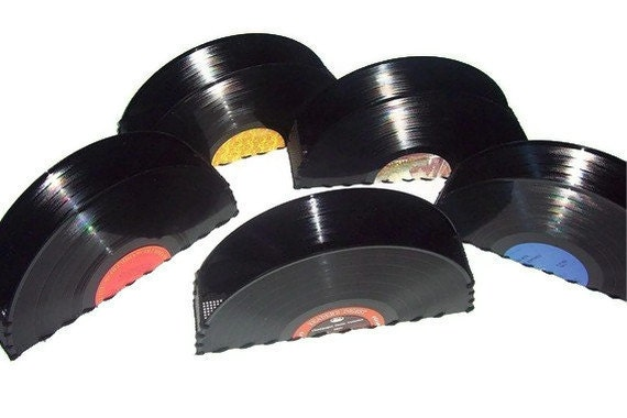 Recycled Record Container for Accessories, Vintage Home Decor, Office Accessories, Storage Box