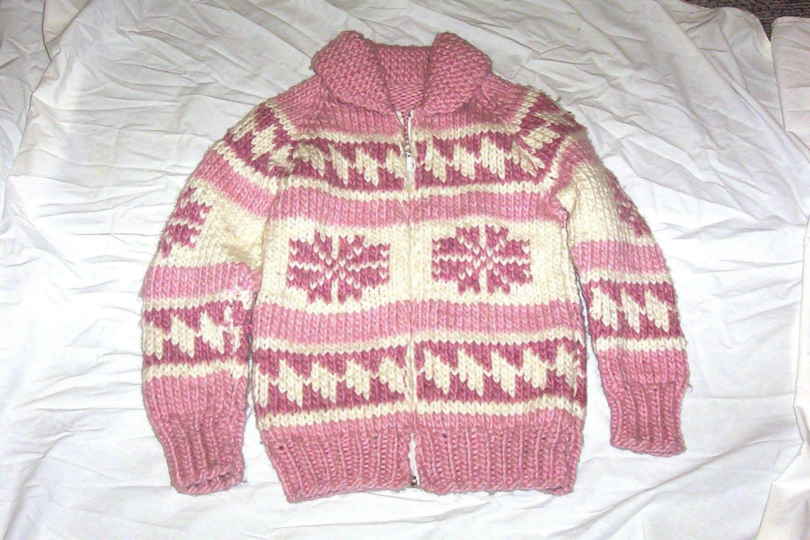 Vintage Hand Knit Cowichan Sweater Jacket