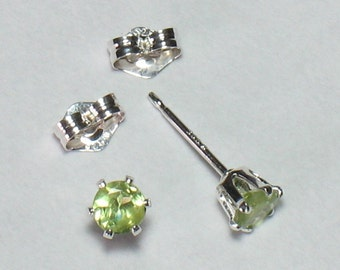 "4mm Faceted Natural Peridot Post Earrings in Sterling Silver (.16"")"