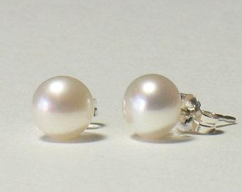 "White Freshwater Pearl Sterling Silver Post Earrings 6-7mm (.24-.28"", medium size)"
